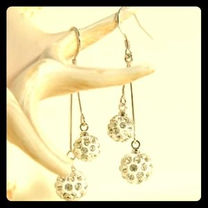 Silver Plated Disco Bon-Bon Dangle Earrings New!